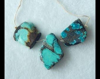 3 PCS Turquoise Gemstone Pendant Bead Set,33x21x7mm,22x6mm,18.1g(f0204)
