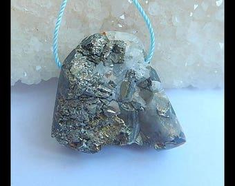 Raw  Pyrite With Quartz Pendant Bead,25x18x4mm,20.1g(h0354)
