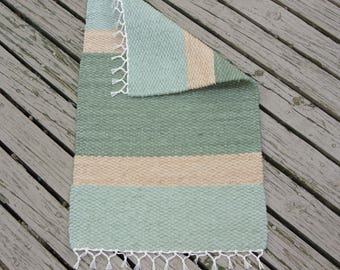"Hand Woven Rug - 18"" x 29""- Sage, Light Sage and Ecru"
