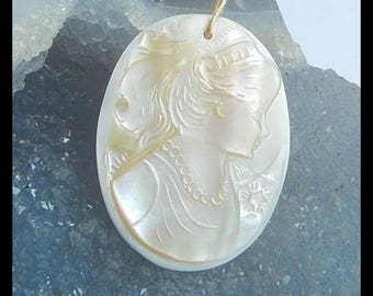 Carved Shell Beauty Pendant Bead,37x28x2mm,4.4g