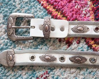 Western Belt, Silver Western Belt, Silver Buckle Belt, White Leather Belt