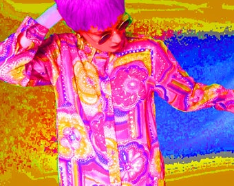 Long Dressing Gown is a Neon Maxi Lounge Robe with Trippy Hot Pink Print and is Psychedelic 60s Loungewear