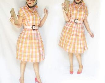 Full Skirt Shirtwaist is a 60s Summer Plaid Dress with Big Skirt, a Fit and Flare Short Sleeve Dress or Sweet 50s Dress, Large Size 16, NWOT