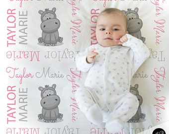 Hippo baby blanket, baby girl personalized baby gift, hippo name blanket, baby blanket, personalized blanket, hippopotamus,choose colors