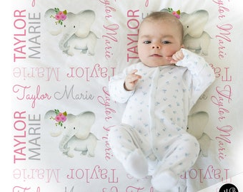 Baby girl elephant name blanket in pink and gray, personalized baby gift, blanket, baby blanket, personalized blanket, choose colors