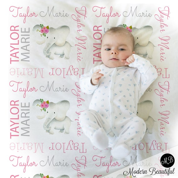 Baby girl elephant name blanket in pink and gray personalized baby il570xn negle Images