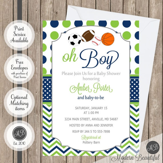 Oh boy sports theme baby shower invitation navy and lime green il570xn filmwisefo