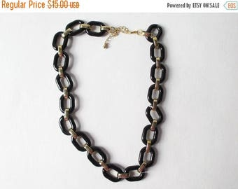 On Sale Black and Gold Statement Necklace Vintage Chunky Links Vintage Black and Gold Necklace