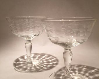 Pair Etched Champagne Cocktail Coupes