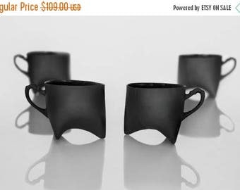 SALE Ceramic cups set of four- black porcelain mugs, contemporary ceramic cups handmade coffee cup or tea cup by Endesign