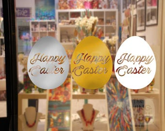 Happy Easter Eggs, Decorative Glass Shop Window Display, Removable Sticker Australian Made