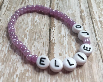 Personalized Beaded Stretch Bracelet-Any Name-Any Word-Any Phrase-Party Favor-light purple-lavender