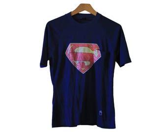 Vintage 70's 80's Super Man Pocket T-shirt Size Medium