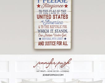 Pledge Allegiance - 12x16 Art Print - Inspirational, Patriotic, School, Holiday, Country, Vintage, Home, Wall Decor - Red White Blue