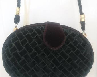 Vintage Velvet Clutch Purse by Whiting and Davies Handbag Clutch