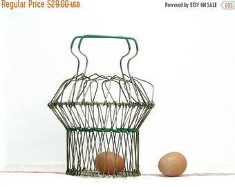 French vintage wire fruits basket, eggs basket, original shaped mid century