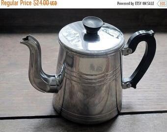 Circa 1930 , French antique  coffee pot  chromed metal, lovely trim , bakelite handle