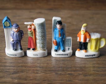 French Feves Porcelain Glazed- Villagers  of world Traditional Costume Attire -Big ben -Figurines King Cake Baby Doll House Miniatures