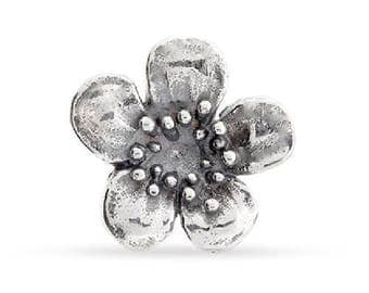 Charms, Plum Blossom Embellishment, Sterling Silver, 9.75x10.5mm - 1 Pc Wholesale Price (12047)/1