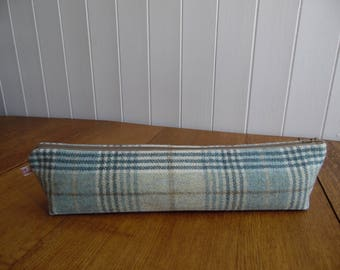 Tweed plaid tartan check knitting needle bag pouch- green & beige