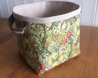 William Morris Golden Lily Print Large Storage Basket Bin Oilcloth