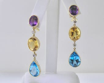 TRI-Color DANGLE Earrings, SEXY and Brilliant, in 14k Yellow Gold