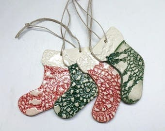 Set of Four Holiday Stocking Ornaments, Christmas Ornament, Handmade Ornament, Ornament Exchange, gift tag