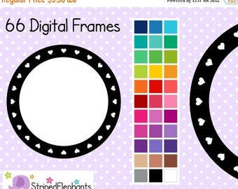 40% OFF SALE Heart Circle Digital Frames 2 - Clip Art Frames - Instant Download - Commercial Use
