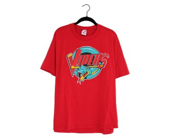 Vintage Detroit Vipers IHL Hockey Logo Bright Red Jerzees 50/50 Poly-Cotton Blend T-Shirt, Made in USA - XL