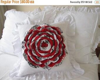 clearance sale Round Flower decorative pillow-bed-sofa-girls room decor- Linen ruffled Dahlia flower pillow euro sham-red black white queen