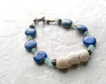 Essential oil diffuser Bracelet, lava bead bracelet, blue and aqua, sodalite, white and blue, mothers day gift, gift for her, boho chic