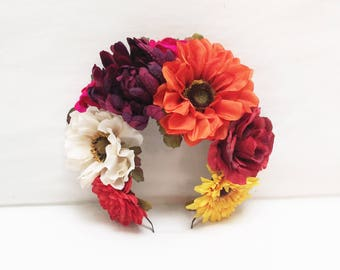 Day of the Dead Flower Crown, Dia de los Muertos, Mexican Flower Crown, Flower Headband, Floral Headpiece, Frida Kahlo, Mexican, Crown, Fall