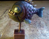 Checkerboard Piranha hand painted sculpture by Tom Taggart