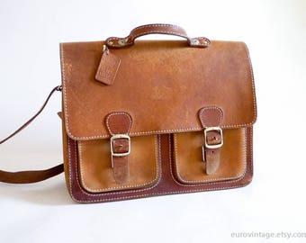 Vintage Brown Leather Teacher Bag / Briefcase / Satchel / School Bag / Reporter Bag