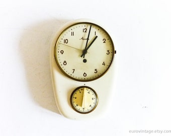Vintage Mauthe Kitchen Wall Clock w Timer / Porcelain Wall Clock / White Ceramic Wall Clock Working