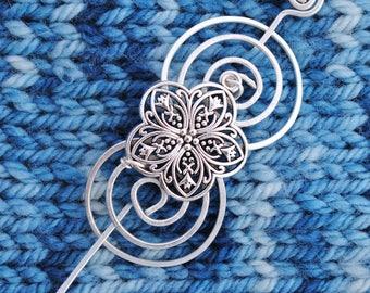 Flower Shawl Pin in Silver