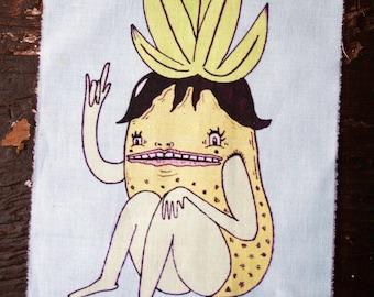 Anthropomorphic Pineapple Art Patch