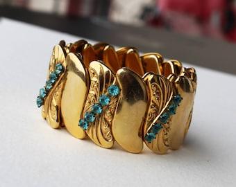 Vintage Rhinestone and Gold Filled Expandable Bracelet Aquamarine Bugbee and Niles