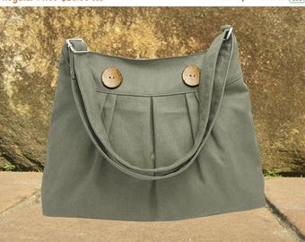 On Sale 20% off Olive cotton canvas bag with buttons, shoulder bag, messenger bag, diaper bag, cross body bag, zipper closure