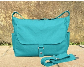 On Sale 20% off turquoise messenger bag, shoulder bag, diaper bag, ipad bag for men and women