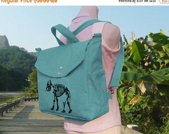 On Sale 20% off Teal green canvas backpack, screenprinted canvas bag, canvas laptop bag, messenger bag