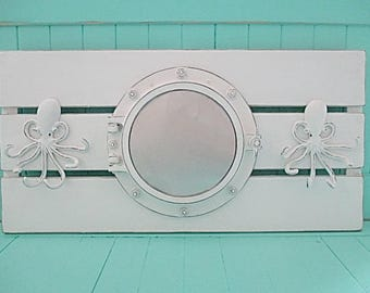 Nautical Plank Board w/Porthole Mirror, Two Octopus Hooks, Distressed White