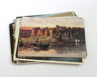 SALE - 17 Vintage Great Britain Castles Postcards - DAMAGED - Collage, Mixed Media, Scrapbooking, Assemblage, Paper Craft,  Journal Supplies