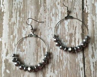 Gorgeous silver beaded hoop earrings