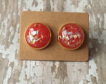 Red gold flake opal studs