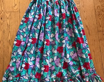 Vintage Laura Ashley 1980's Blue Red Green Pink Tan Floral Country Chic Skirt