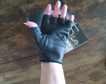 Vintage 90s Black Leather Fingerless Gloves Biker Motorcycle Size Small S