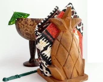 Vintage Tiki Napkin Holder Pineapple Design Carved Monkey Pod Wood