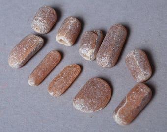 Set of 10 antique Vintage glass stones, pieces, without hole