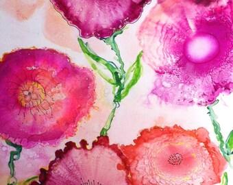 Whimsical Art Print, Alcohol Ink Painting, Flower Art Work, Contemporary Artwork, Giclee Print, Garden Art, Home decor wall art, Fine Art
